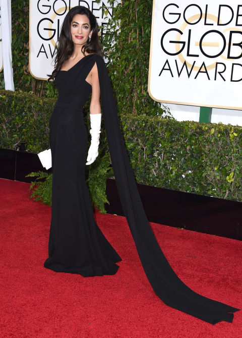Arriving at the Golden Globes.