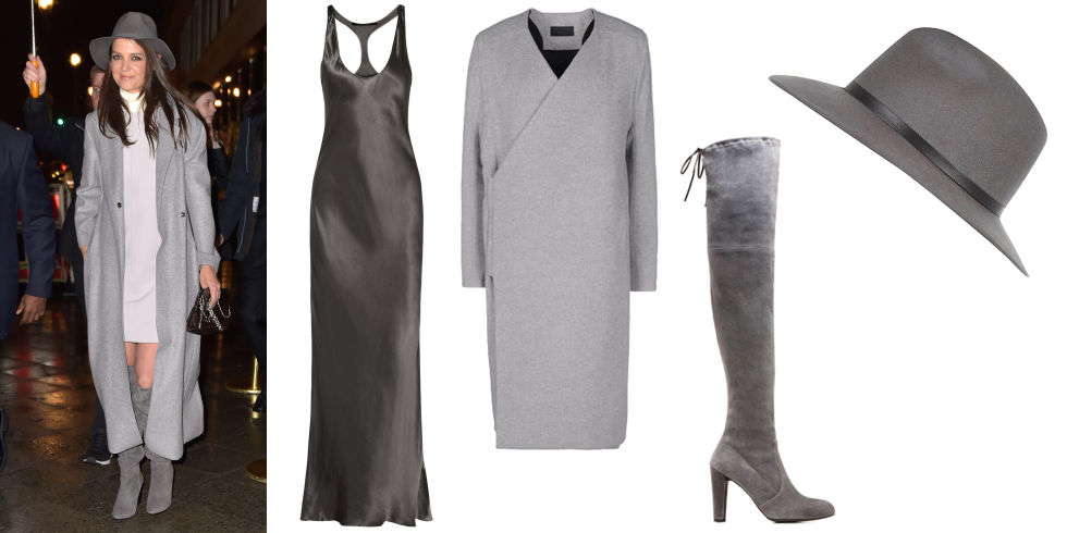 Stuart Weitzman Highland Boot, $795; stuartweitzman.com Rad by Rad Hourani Coat, $521; thecorner.com  River Island Grey Leather Look Trim Fedora Hat, $50; us.riverisland.com Haider Ackerman Silk Satin Maxi Dress, $487; theoutnet.com