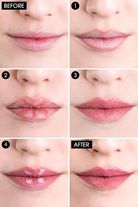 Lip makeup step by step