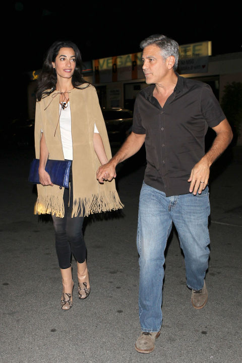 Leaving Asanebo restaurant in Citizens of Humanity jeans after having Valentine's Day sushi with George Clooney in Studio City, California.