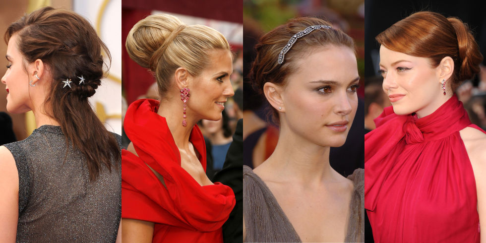 Textured updos with embellished adornments like Portman and Watson's can be an unexpected complement to a red carpet dress, while polished chignons worn by Stone and Klum are classic choices for equally elegant red gowns.