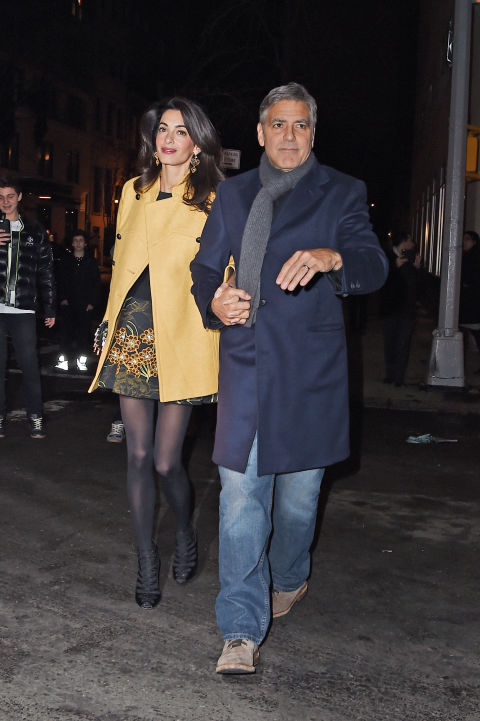 In a Giambattista Valli dress leaving Japanese restaurant Kappo Masa with George Clooney in New York City.