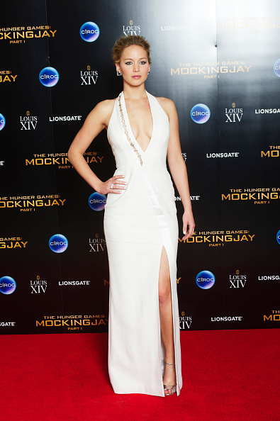 In a custom-made Mugler dress at The Hunger Games: Mockingjay Part 1 world premiere after party.