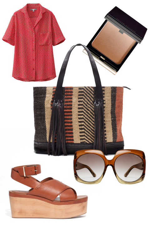 Zara Fringed Fabric Shopper Bag, $139; zara.com Uniqlo Printed Short Sleeve Blouse, $30; uniqlo.com & other Stories Leather Wedge Sandals, $195; stories.com Tom Ford Oversized Sunglasses, $293; stylebop.com Kevyn Aucoin The Celestial Bronzing Veil, $48; sephora.com