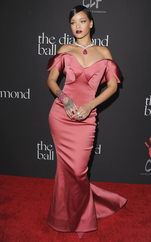 Rihanna in the Blue Shorts and White Fur - Rihanna Fashion and ...