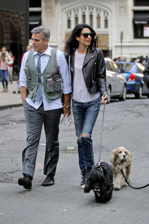 "Visiting George Clooney on the set of Money Monster with his dog, Einstein in Citizens of Humanity Jeans and Ash ""Thelma"" sneakers."