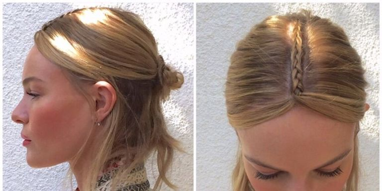 kate bosworth coachella hair tutorial   braided part half bun hair how