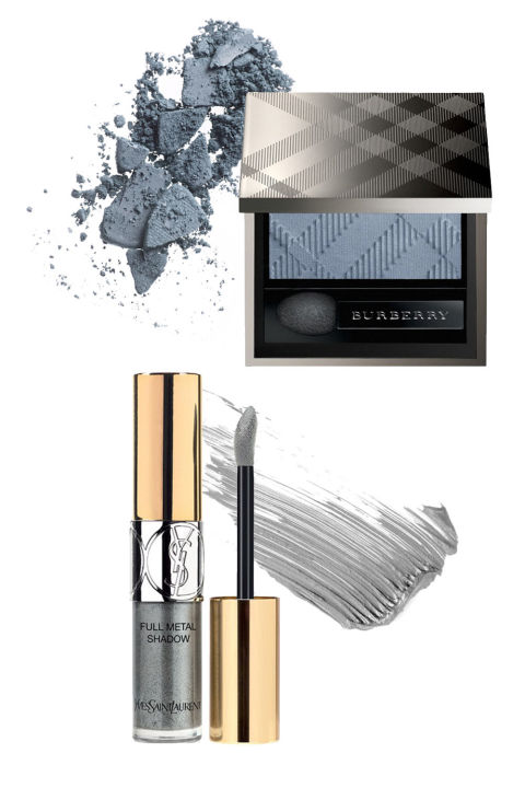Burberry Beauty Eye Colour Wet & Dry Silk Eyeshadow in No. 307 Stone Blue, $29; Nordstrom.com Yves Saint Laurent Pop Water Full Metal Shadow Metallic Color Liquid Eyeshadow in 01 Grey Splash, $30; Nordstrom.com