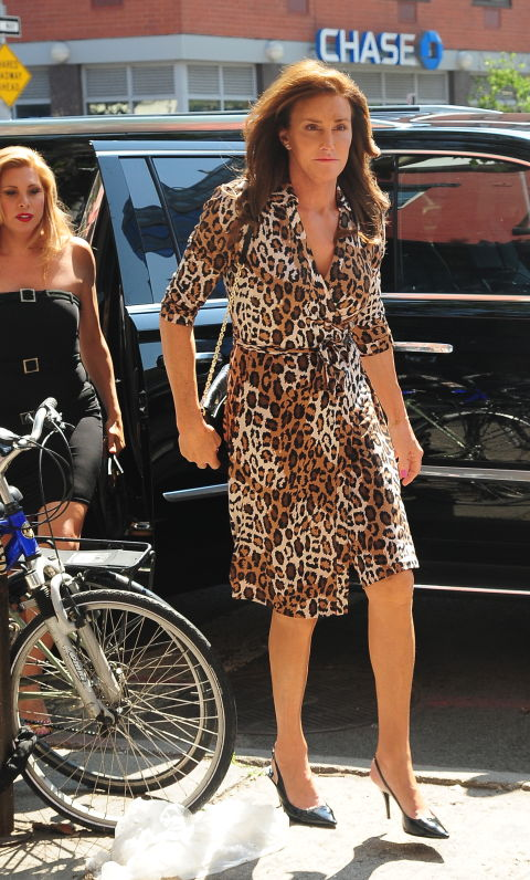 Wearing a leopard dress out in New York City.