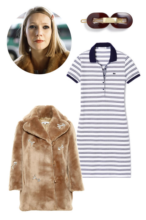 Carven Crystal Embellished Faux Fur Coat, $1,470; farfetch.com L. Erickson Metal Link Tige Boule Barrette, $45; nordstrom.com Lacoste Stripe Pique Polo Dress, $82; lacoste.com