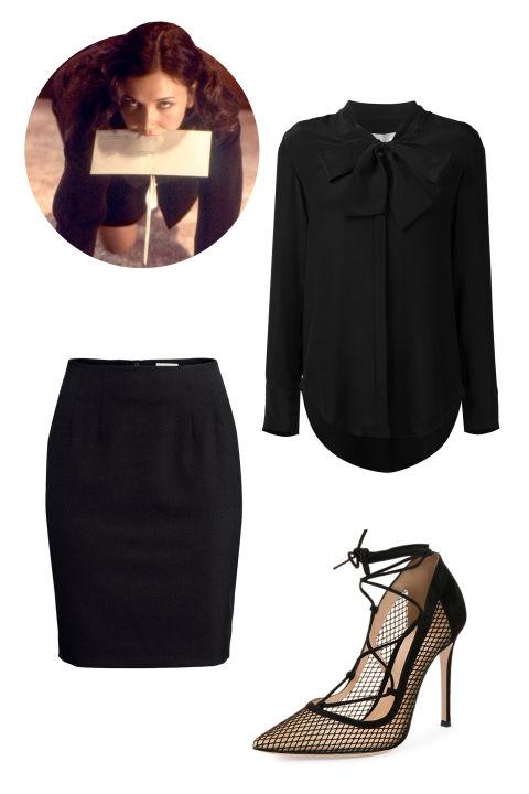 Strateas Carlucci Pussy Bow Blouse, $173; farfetch.com H&M Pencil Skirt, $25; hm.com Gianvito Rossi Mesh Lace-Up Point-Toe Pump, $950; bergdorfgoodman.com