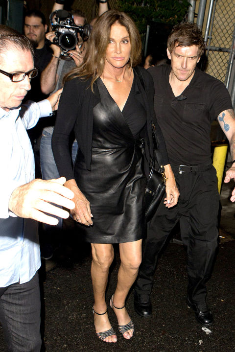 In a leather wrap dress while out at a gay club in Hollywood.
