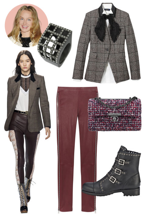 Inspiration: Rodarte, Fall 2015 Shop the Look: Veronica Beard Wool-Blend Blazer, 895; veronicabeard.com; Polo Ralph Lauren Cotton Shirt, $145, Gauze Scarf, $58; both ralphlauren.com; Vince Lambskin Leggings, $1,095; vince.com Accessories: Sardo Blackened Silver and Brown Diamond Ring, $3,990; doverstreetmarket.com; Jimmy Choo Leather Ankle Boot, $1,495; jimmychoo.com; CHANEL Tweed Handbag, $4,300; available at select CHANEL boutiques