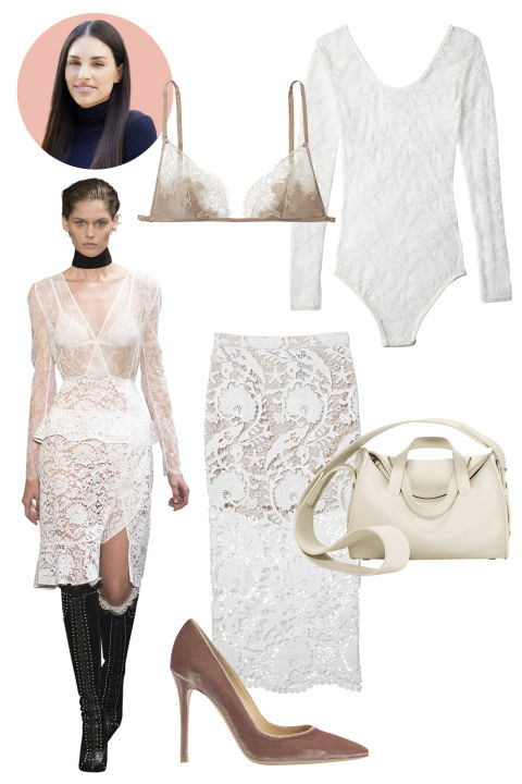 Inspiration: Altuzarra, Fall 2015 Shop the Look: Boohoo Stretch-Lace Bodysuit, $24; boohoo.com; Stone Cold Fox Embroidered-Lace Skirt, $275; revolveclothing.com Accessories: Carine Gilson Lace Bra, $500; nancymeyer.com; The Row Drum Leather Handbag, $3,950; neimanmarcus.com; Gianvito Rossi Velvet Pump, $670; net-a-porter.com