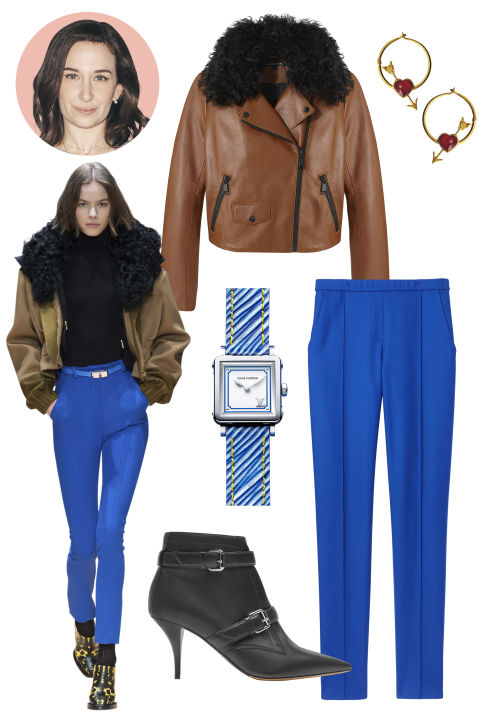 Inspiration: Carven, Fall 2015 Shop the Look: Andrew Marc Leather and Shearling Jacket, $1,095; andrewmarc.com, Elie Tahari Wool-Blend Pants, $298; elietahari.com Accessories: Marie-Hélène de Taillac Gold and Fire Opal Earrings, $2,950; mariehelenedetaillac.com; Louis Vuitton Silver Watch, $3,200; louisvuitton.com; Tabitha Simmons Leather Ankle Boot, $1,095; Collection at The Griffin, Miami.