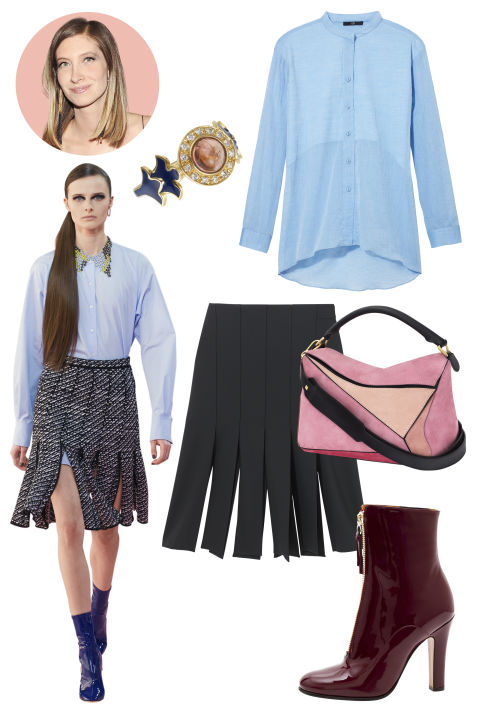 Inspiration: Dior, Fall 2015 Shop the Look: Tibi Wool Gauze Easy Shirt, $350; tibi.com; Tibi Carwash Midi Skirt, $385; tibi.com Accessories: Sabine G. Diamond, Pink Tourmaline Blue Enamel, and Gold Ring, $3,121; sabineg.com; Loewe Suede Handbag, $2,190; nordstrom.com; Valentino Patent Leather Ankle Boots, $1,575; bergdorfgoodman.com