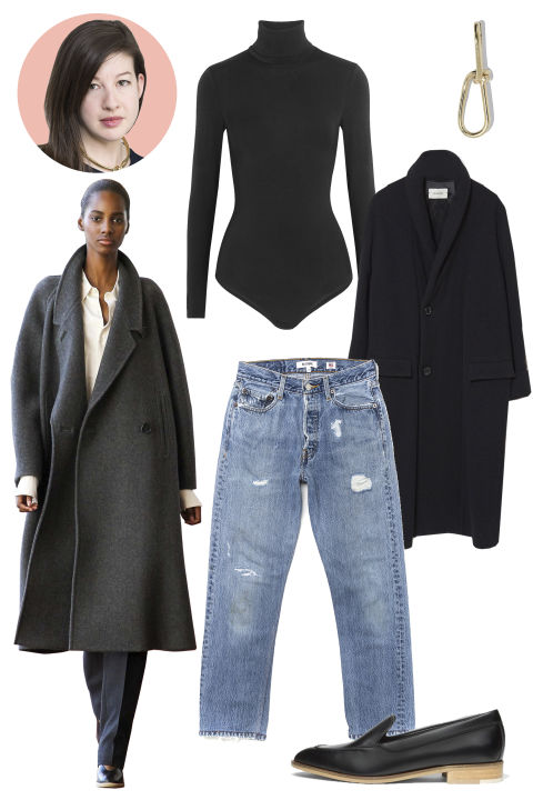Inspiration: Lemaire, Fall 2015 Shop the Look: Lemaire Kaftan Coat, $1,350; lagarconne.com; Wolford Colorado G-String Bodysuit, $260; net-a-porter.com; Re/Done Jeans, $380; shopredone.com Accessories: Annelise Michelson Wire Earring, $218; annelisemichelson.com; Everlane Modern Loafer, $165; everlane.com