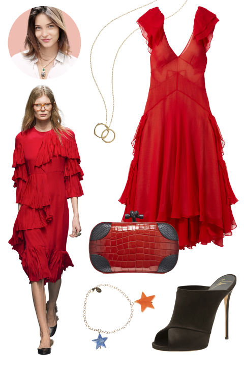 Inspiration: Gucci, Fall 2015 Shop the Look: Free People Silk Dress, $400; freepeople.com Accessories: Monica Rich Kosann Gold and Diamond Rings on Gold Chain, $2,820; monicarichkosann.com; Bottega Veneta Soft Crocodile Clutch, Price Upon Request; bottegaveneta.com; Jessica Winzelberg Gold Bracelet With Lapis and Red Aventurine Charms, $275; jessicawinzelberg.com; Giuseppe Zanotti Satin Mule, $750; saks.com