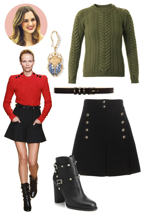 Inspiration: Isabel Marant, Fall 2015 Shop the Look: Balmain Cable-Knit Wool Sweater, $422; matchesfashion.com; Chloe Wool Skirt, $1,260; mytheresa.com Accessories: Aurelie Bidermann Blue Sapphire Scarab Keeper Earring, $3,775; aureliebidermann.com; Maison Boinet Studded Textured-Leather Skinny Belt, $74; modaoperandi.com; Valentino Rockstud Pebbled Leather Booties, $1,375; saks.com
