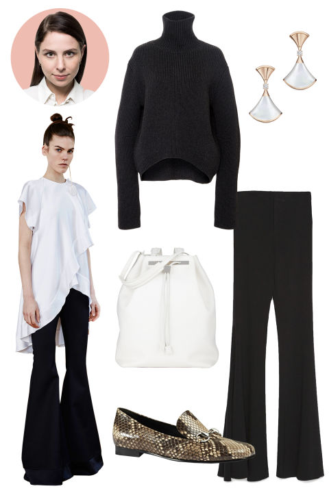 Inspiration: Ellery, Fall 2015 Shop the Look: Ellery High Collar Cropped Jumper, $1,090; modaoperadi.com; Zara Wide Flared Studio Trouser, $129; zara.com  Accessories: Bulgari Diva Earrings, $2,550; bulgari.com; The Row Drawstring Backpack, $4,065; farfetch.com; Gucci Python Horsebit Loafers, $1,110; gucci.com