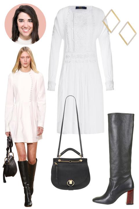 Inspiration: Chloé, Fall 2015 Shop the Look: Polo Ralph Lauren Embroidered Dress, $525; stylebop.com Accessories: Delfina Delettrez Silver Dettaile Unique Earrings, $800; stylebop.com; Chloé Goldie Satchel, $1,950; ssense.com; Topshop Carmen Tortoiseshell Mid Calf Boots, $240; topshop.com