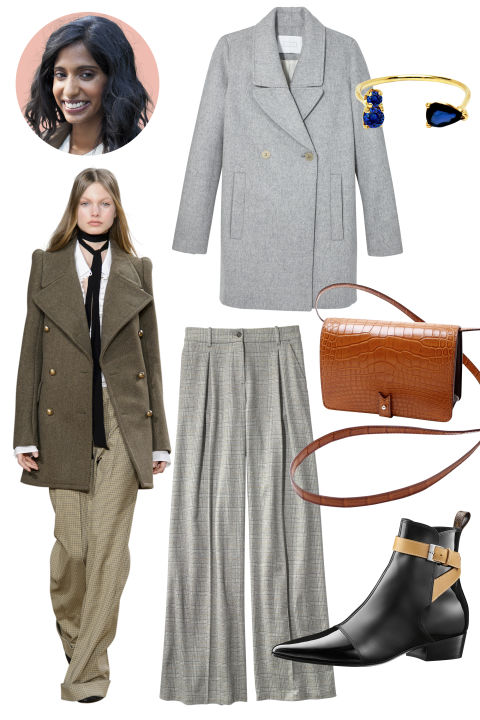 Inspiration: Chloé, Fall 2015 Shop the Look: Ayr Wool and Cashmere Jacket, $585; ayr.com; J.Crew Cashmere Trousers, $1,250; jcrew.com Accessories: Loren Stewart Gold and Sapphire Ring, $415; matchesfashion.com; Lacontrie Crocodile Cross-Body Bag, $4,100; lacontrie.com; Louis Vuitton Calfskin Ankle Boot, $1,280; louisvuitton.com