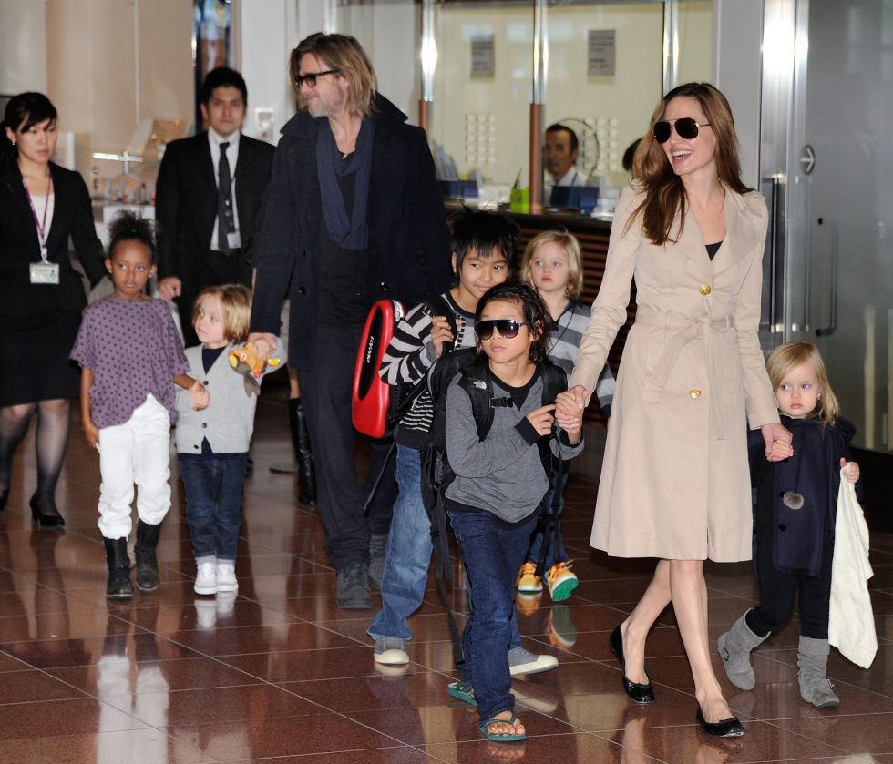 With their six children in Tokyo.