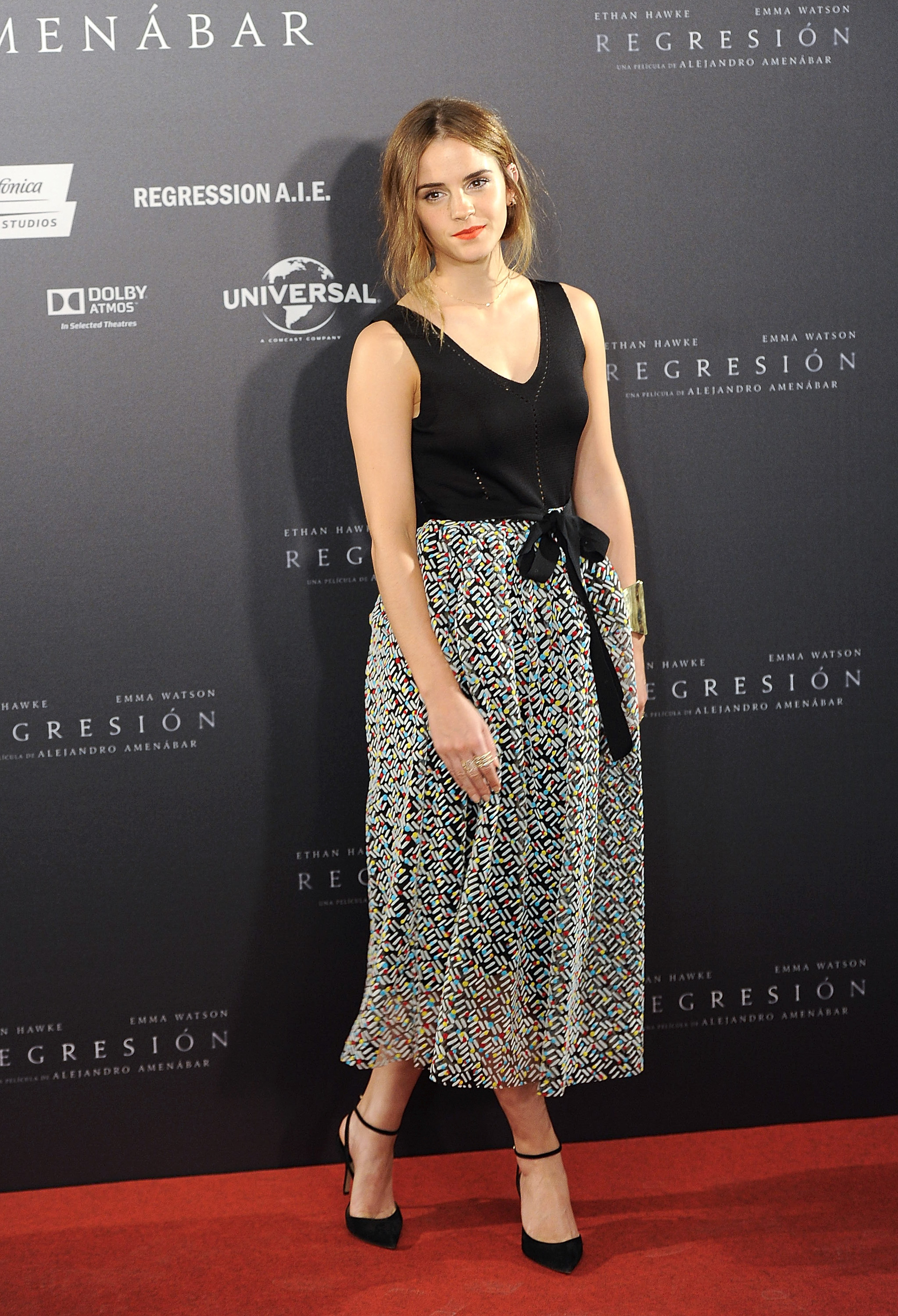 Emma Watson in Blue Flower Gown in Paris - Emma Watson Fashion Photos