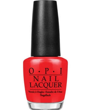 """Who doesn't love these shiny, chip-resistant lacquers? Makeup artist Charlotte Tilbury tells us, """"Big Apple Red [below, top] is instant glamour."""" More ELLE faves: Tickle My France-y (center) and Alpine Snow (bottom). OPI Nail Lacquer, Big Apple Red, $10; macys.com"""