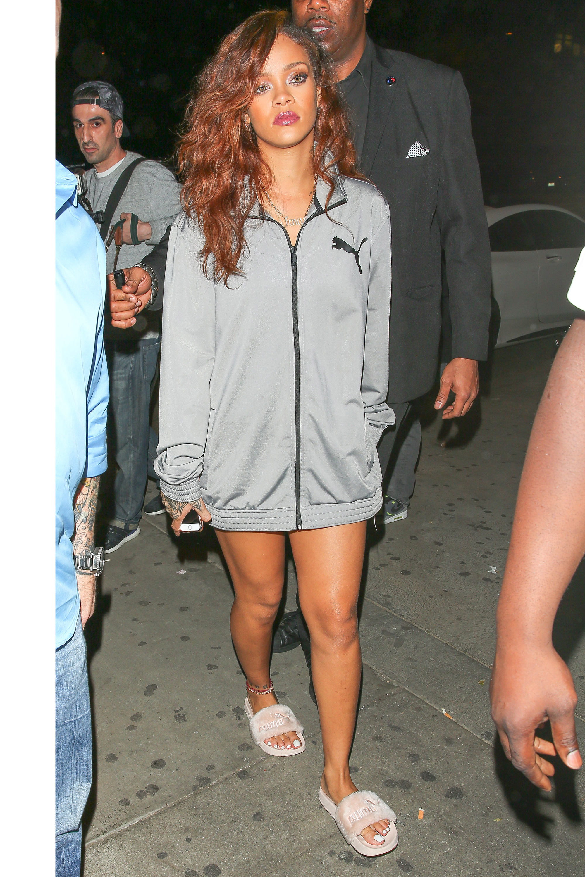 Excellent Rihanna In Giant Embroidered Blue Jacket In Nyc Rihanna Fashion Short Hairstyles For Black Women Fulllsitofus