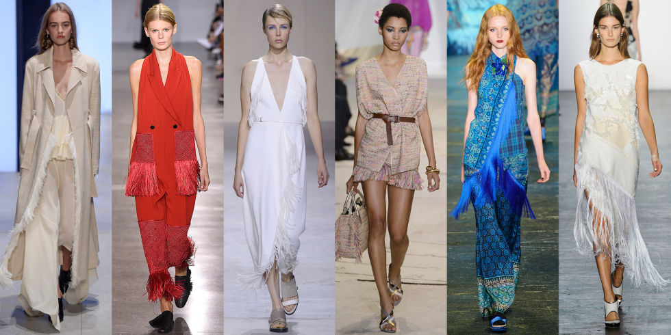 Fringe has been trending for a few seasons now, and after seeing it at Derek Lam, Edun, Boss, Diane von Furstenberg, Anna Sui, and Prabal Gurung it's clear the swingy trim is here to stay.