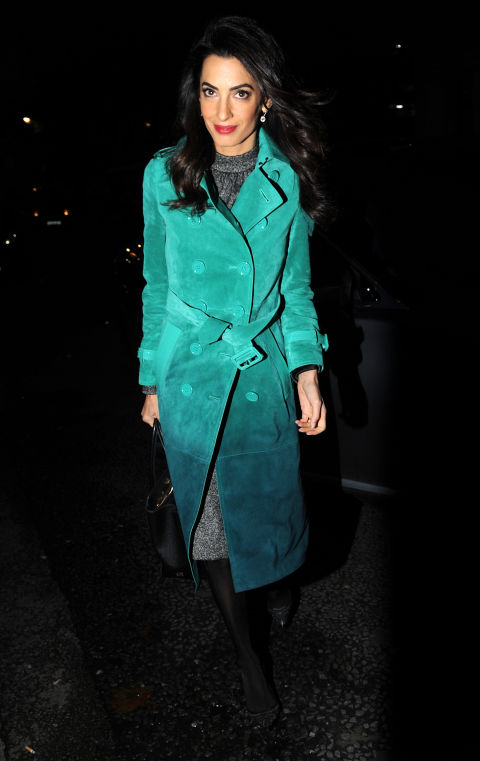 In a Burberry trench out in London. </p><p>