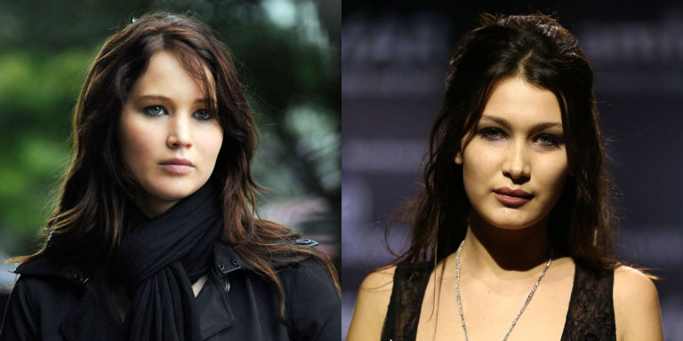 bella hadid and jennifer lawrence twin moments   bella hadid and