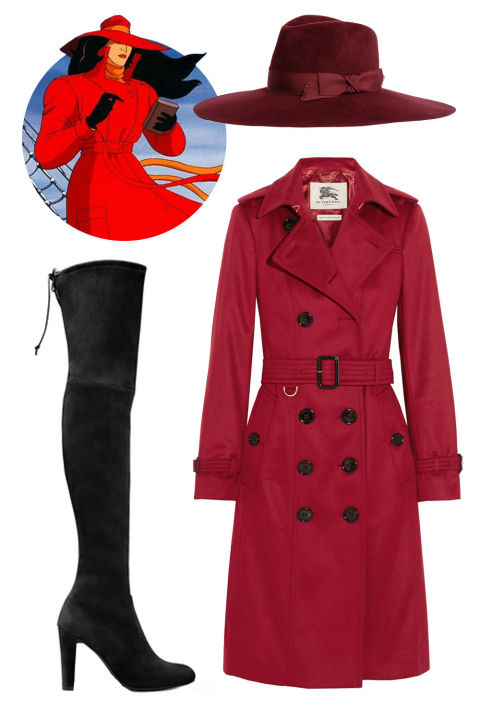 """I'd go for the international thieving villain, Carmen Sandiego: A red trench coat, matching fedora, and black boots.""Burberry London Brushed Cashmere Trench Coat, $2,795; net-a-porter.comStuart Weitzman The Highland Boots, $798; stuartweitzman.comPreston and Olivia Ashby Wide Brim Fedora, $210; prestonandolivia.com"