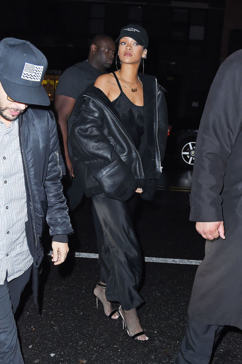 32e41b876bb5 In NYC wearing a black slip dress and leather jacket with Manolo Blahnik  sandals and a