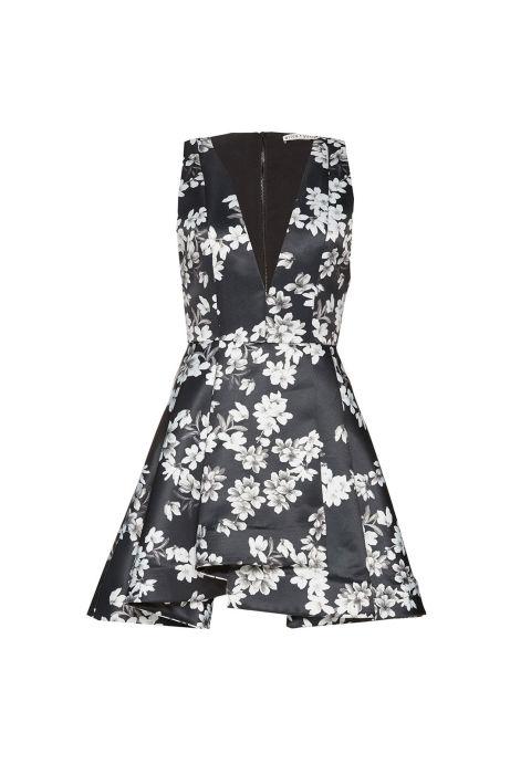 Alice and Olivia Tanner Asymmetric V Neck Flare Dress, $368; aliceandolivia.com