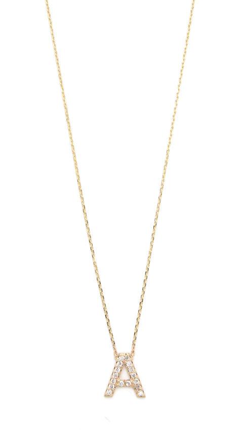 Sarah Chloe Diamond Letter Gold Necklace, $747; shopbop.com