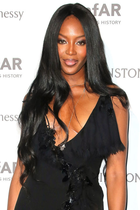 As her decades-long career has continued on, Campbell's signature black locks have grown longer and longer.