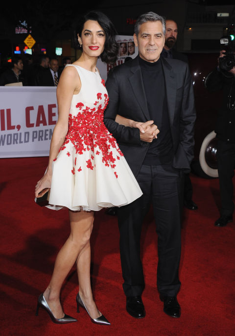 In a Giambattista Valli Haute Couture dress with George Clooney at the Hail Caesar! Los Angeles premiere. </p><p>