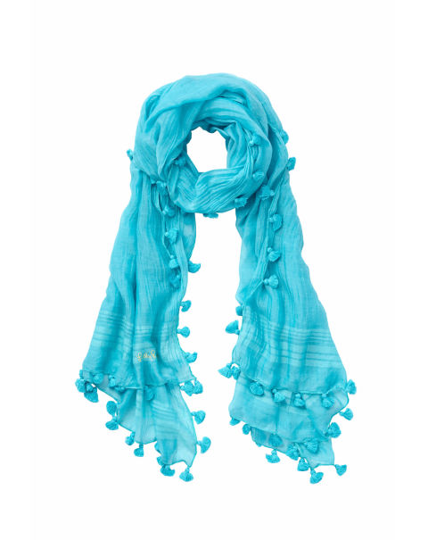 For the pattern-averse, this blue scarf gets its kicks from tiny pom-poms instead. It's a great, soft layering piece to pair with something tougher, like a leather jacket.Carly Scarf by Lilly Pulitzer, $88, lillypulitzer.com.