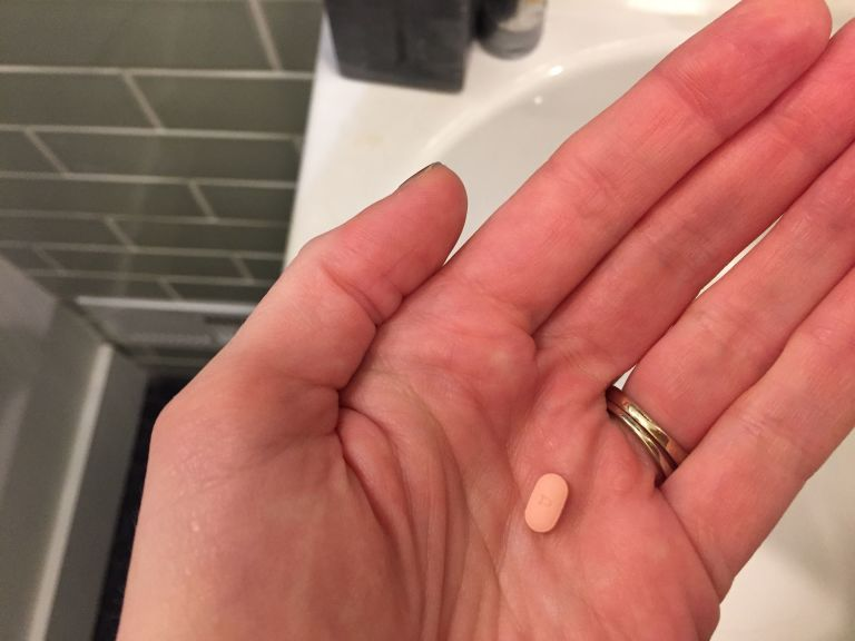 anxiety pill in hand