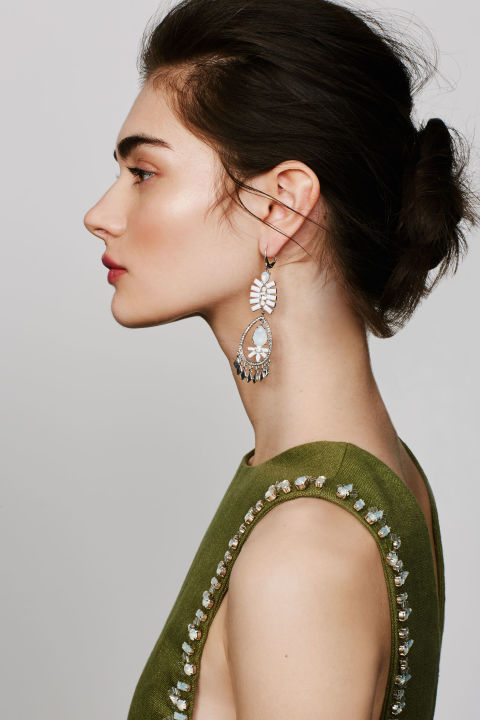 Play up an embellished top with equally dazzling earrings.  Kent & King Crystal Chandelier Earrings, $24, nordstrom.com; Tory Burch 'Rachel' Embellished Linen Tabard Tank, $895, nordstrom.com