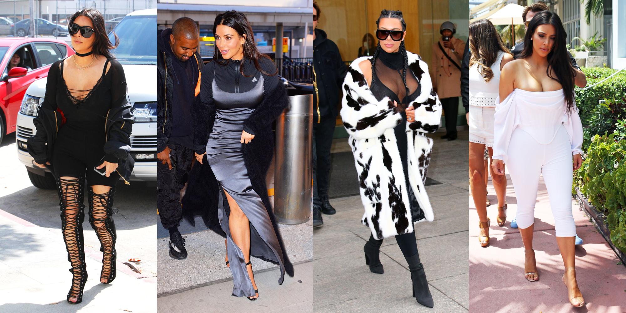 Kim Kardashian In Sheer Black Tank And Camo Shorts Kim