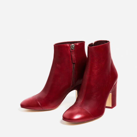 Zara High Heel Leather Ankle Boots with Toe Cap, $139; zara.com