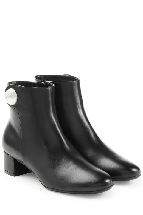 Salvatore Ferragamo Leather Ankle Boots, $719; stylebop.com