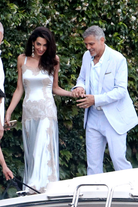 In Dolce & Gabbana while out in Lake Como with George Clooney.