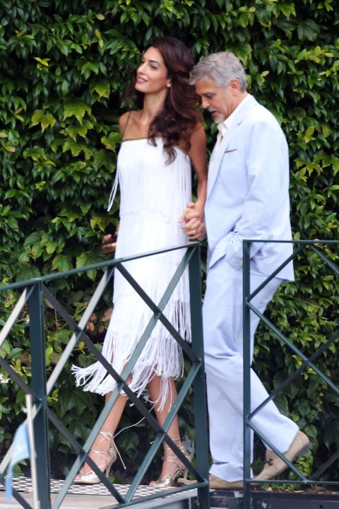 With George Clooney during a party in Lake Como, Italy. </p><p>