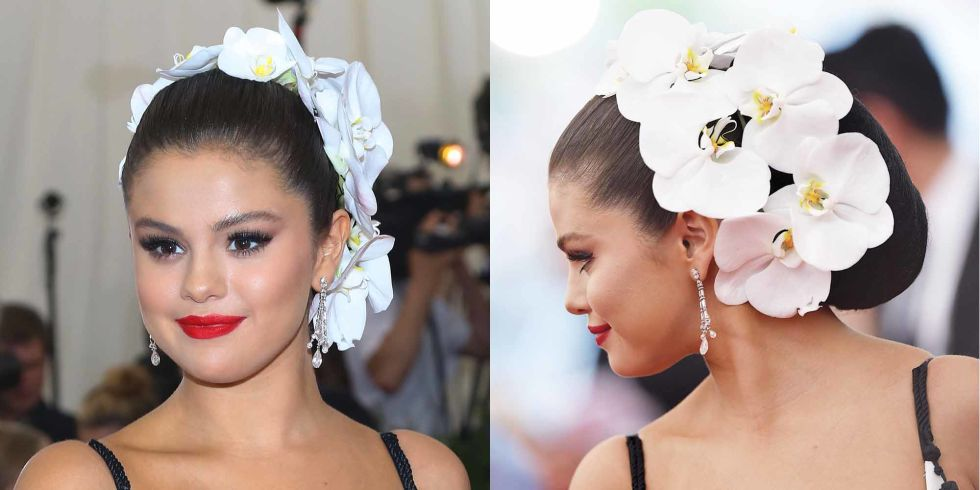 Selena Gomez wrapped her hair in an orchid crown to the China: Through The Looking Glass Met Gala in 2015.