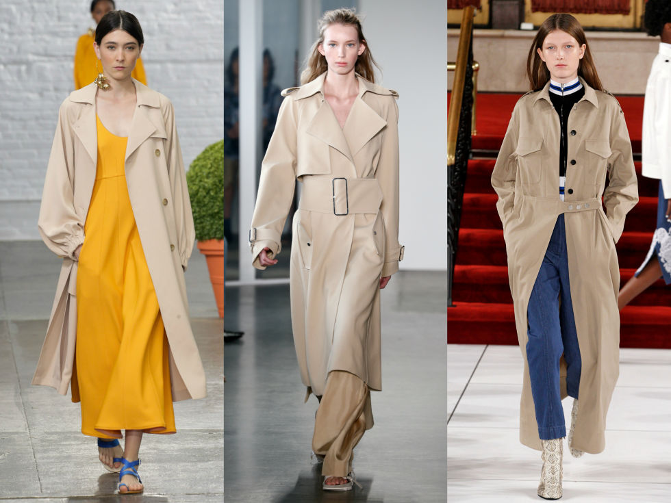 Slouchy fabrics, big buckles, and extended silhouettes take your run of the mill trench coat from meh to major.Left to Right: Tibi, Dion Lee, Creatures of the Wind