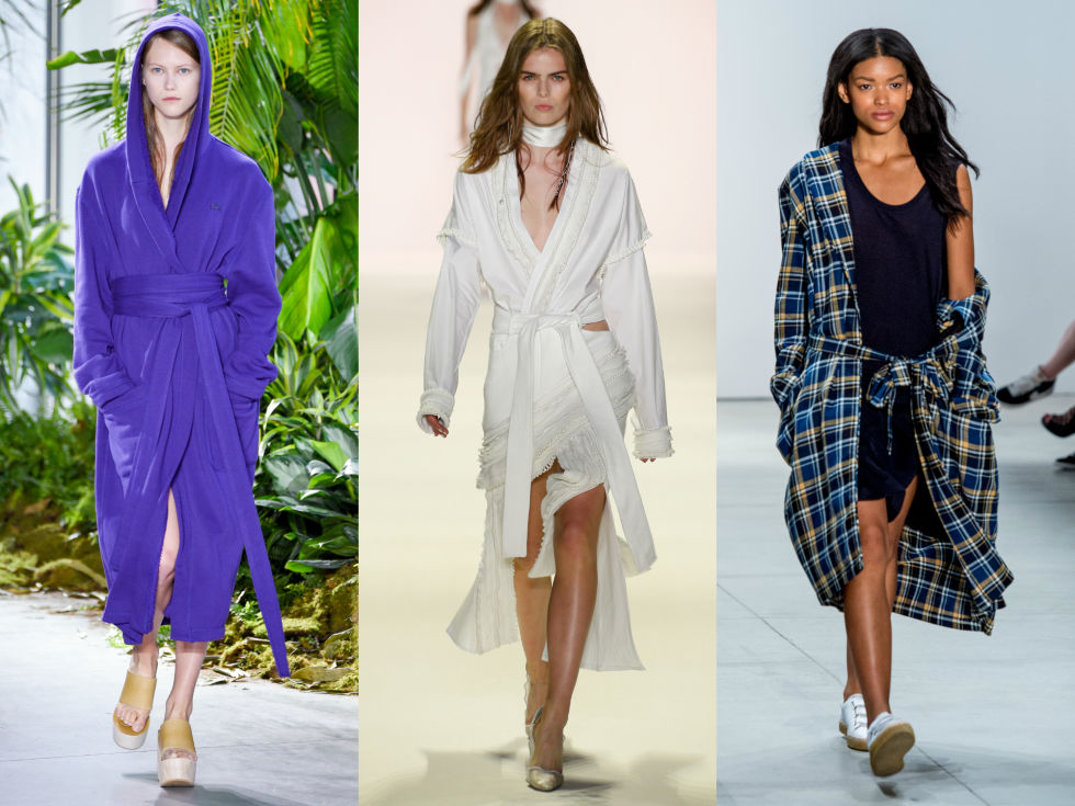 Don't feel like getting dressed in the morning? Toss on a fancy robe and you're good to go. Left to Right: Lacoste, Jonathan Simkhai, Band of Outsiders
